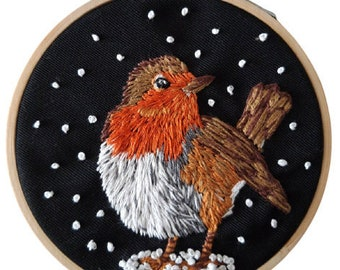 Robin Embroidery hoop- Hand embroidered Snowy Robin hoop