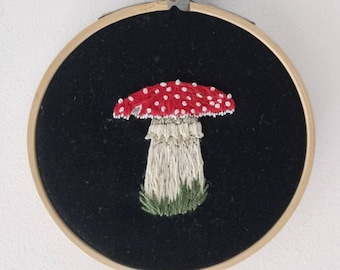 Mushroom embroidery hoop, hand embroidered Fly Agaric, 4 inches