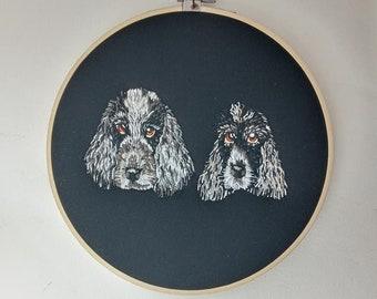 Custom pet portrait hoop- Hand embroidered hoop of your own pet