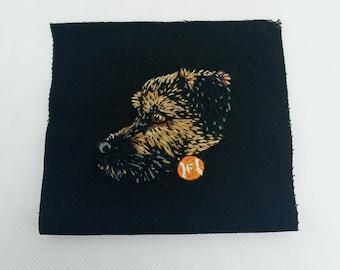 Pet portrait patch- Hand embroidered pet portrait patches