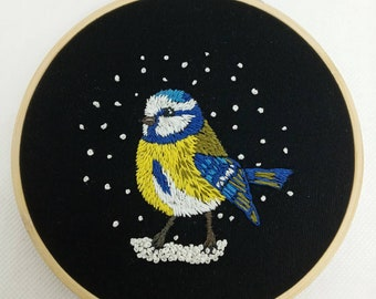 Blue Tit embroidery hoop