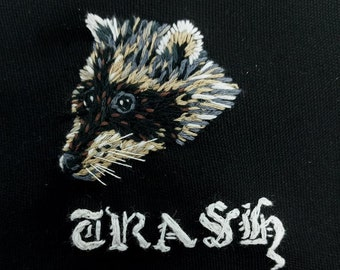 Trash Raccoon patch- Hand embroidered, sew on patch