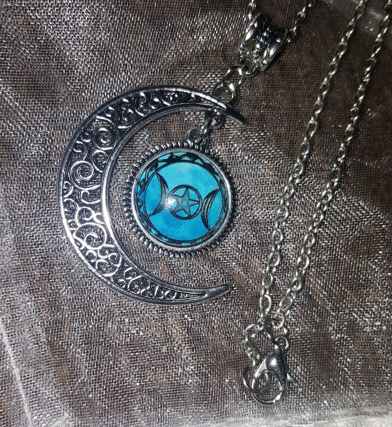 NEW MINI SILVER TONE MAIDEN WICCAN TRIPLE MOON GODDESS PENDANT CHARM NECKLACE