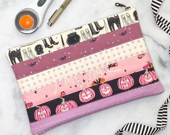 Quilted Notions Bag - Medium Quilted Clutch - Modern Halloween Clutch - Girlie Gift - Spooky Bag - Cute Project Bag - Modern Zipper Pouch