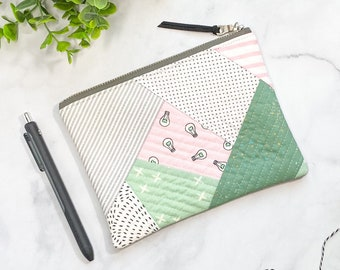 Girl Gift - Quilted Notions Bag - Small Floral Clutch - Pink and Green Pouch - Scrappy QAYG Bag - Cute Project Bag - Modern Zipper Pouch