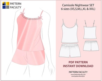 PDF - Digital Sewing Pattern  - Instant Download Camisole Nightwear SET - 6 sizes (xs,s,m,l,xl,xxl), Women Strap Pyjama set