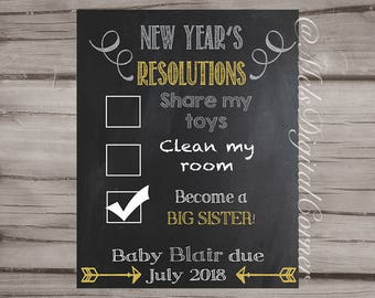 New Years Resolution Big Sister/Brother Pregnancy Announcement