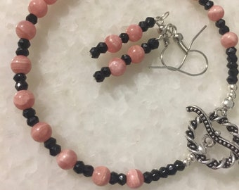 Rhodochrosite and Black Spinel Bracelet