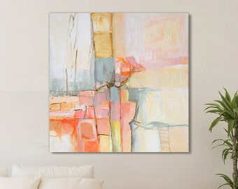 Abstract Landscape Acrylic, Modern Art Canvas, Acrylic Canvas Painting, Abstract Floral Art, Large Artwork, Pink Painting, Orange Painting
