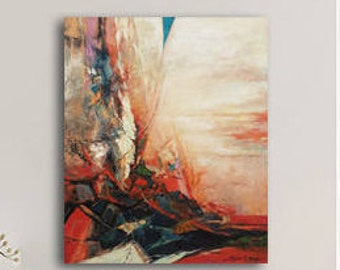 Oil Painting Landscape, Abstract Landscape Painting, Painting Original, Painting Canvas, Red Painting, Original Canvas Art, Modern Painting