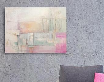 Mixed Medium Art, Abstract Landscape Painting, Original Canvas Art, Original Acrylic Painting, Abstract Art, Canvas Painting, Pink Painting