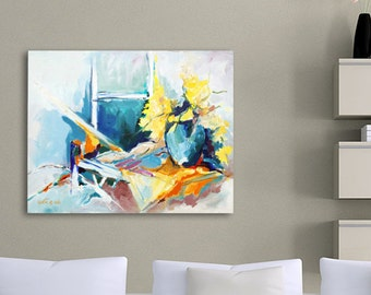 Original Acrylic Painting, Flower Abstract Painting, Abstract Floral Art, Acrylic Painting Canvas, Turquoise Painting Yellow Orange White
