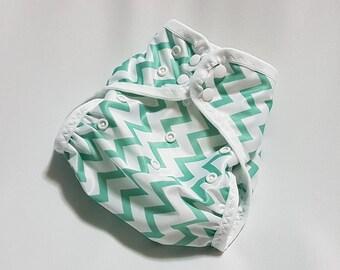 Cloth diaper cover ~ swim diaper ~ all-in-two ~ AI2 ~ one size ~ newborn ~ nappy ~ Chevron ~ Teal & White