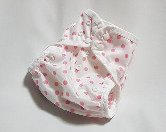 Cloth diaper cover ~ swim diaper ~ all-in-two ~ AI2 ~ one size ~ newborn ~ nappy ~ Polka Dots ~ Pink on White