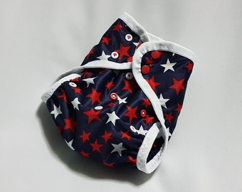 Cloth diaper cover ~ swim diaper ~ all-in-two ~ AI2 ~ one size ~ newborn ~ nappy ~ Stars on Navy ~ Independence Day