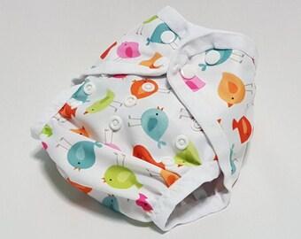 Cloth diaper cover ~ swim diaper ~ all-in-two ~ AI2 ~ one size ~ newborn ~ nappy ~ birdies