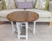 SOLD example - Shabby Chic, country style gate leg oak side coffee table