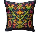 Black boho pillow cover 17 quot . Hand painted silk taffeta, Ukrainian ethnic pattern. Black silk velvet on reverse. Luxury handmade by Fabric17