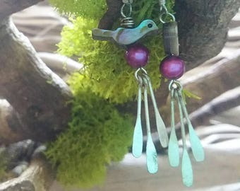 Abalone Bird and Pearl Earrings