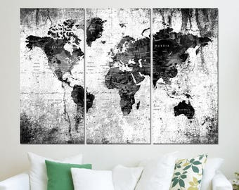 large canvas art world map Push pin wall art print on canvas for bedroom, extra large wall decal travel map grey with cities  hr52
