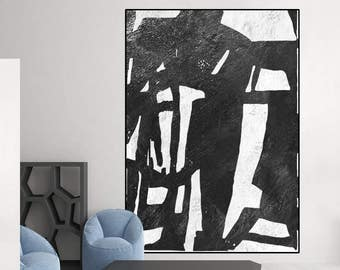 large black and white abstract art, canvas art, original painting, large acrylic painting, modern art Contemporary Painting