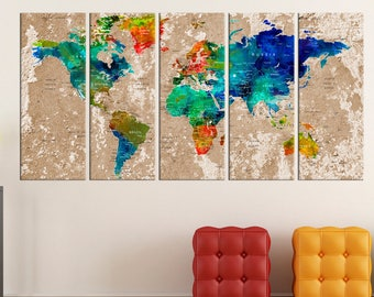large Push Pin travel world map canvas print, extra large travel map wall art set, push pin world map canvas wall art print  No:7S09