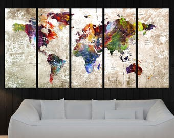 Modern wall art Push Pin world map wall art print, large push pin travel map, wall art canvas, wall art print, wall decor art print No:7S49