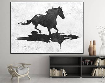 large canvas art, abstract painting on canvas, modern original horse painting black and white, large abstract art, Contemporary Painting