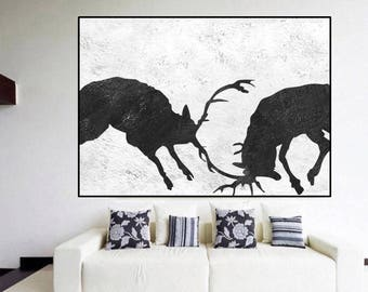 Large abstract deer Painting wall art canvas, original Abstract painting, black and white canvas painting large wall art Signed