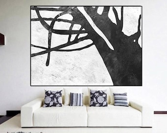 original painting abstract extra large wall art Black and White, nature original Painting on canvas, large Abstract Painting,