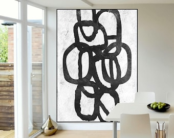 black and white abstract painting extra large wall art,  original Painting on cnvas, large canvas art ,