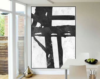 large abstract Painting on canvas, handmade original Painting, Abstract Canvas Painting, large Canvas Art, Black and White painting