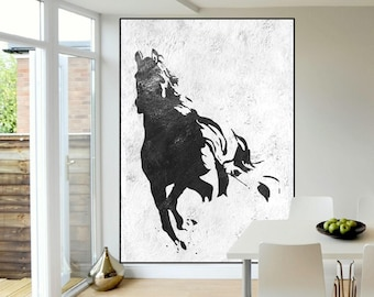 extra large wall art painting, abstract horse Painting, black and white handmade original Painting, Abstract Canvas art, Abstract painting