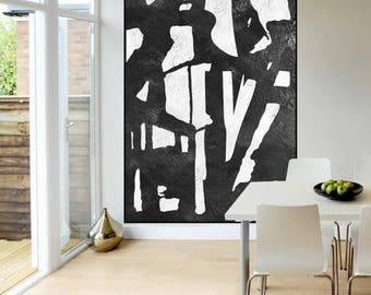 large wall art abstract painting Black and White, modern original Painting on canvas, large Abstract Painting,