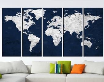 Push Pin World Map Etsy - Old world map wall art in blue