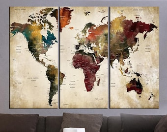3 Pieces World Map Etsy