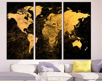 Pieces World Map Etsy - 3 piece world map wall art