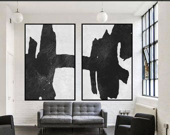 Large Original Abstract Acrylic Painting, Contemporary Art, Hand Painted Large  Wall Art, Decor, Black White Painting , Large Canvas Art