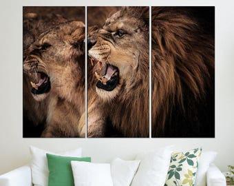 Lion Wall Art Canvas Print , Lion Photo Print Extra Large Wall Art For  Living Office, Animal Canvas Art, Modern Art 9s59