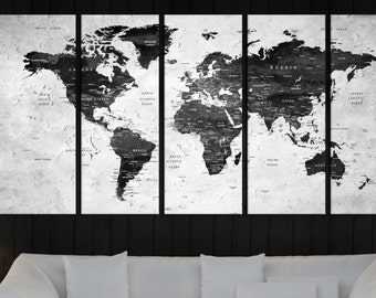 extra large wall art world map canvas print , Push pin world map for travel wall art canvas, black and white world map push pin No:5S96