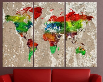 Large wall art canvas, push pin world map wall decor, Push Pin travel map, large world map wall art push pin for large wall No:6S93