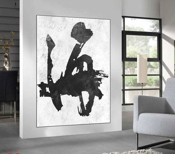 Black White Abstract wall art original Painting large wall | Etsy
