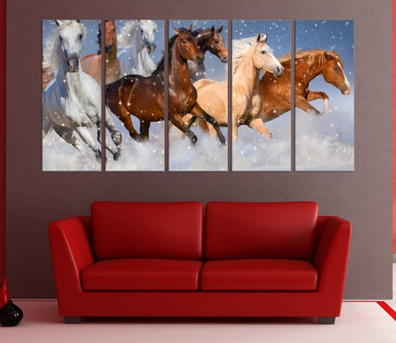 large canvas art for living room wall art horses running | Etsy