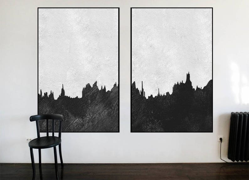 modern home decor original acrylic painting Abstract Painting on canvas extra Large wall art Black and White art Set of 2 pieces minimal art