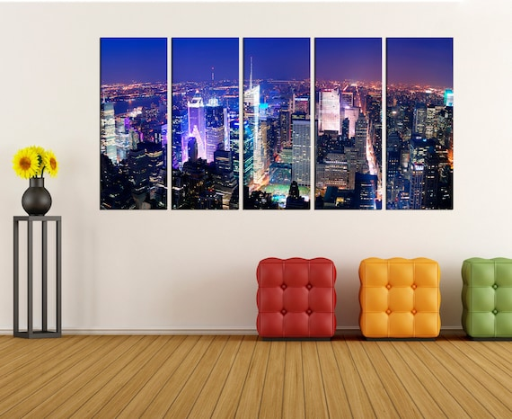 New york skyline wall art canvas print times square canvas | Etsy
