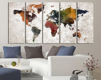 large Push pin world map wall art canvas print, world travel map canvas, large abstract art, map with countries, map with states  hr102