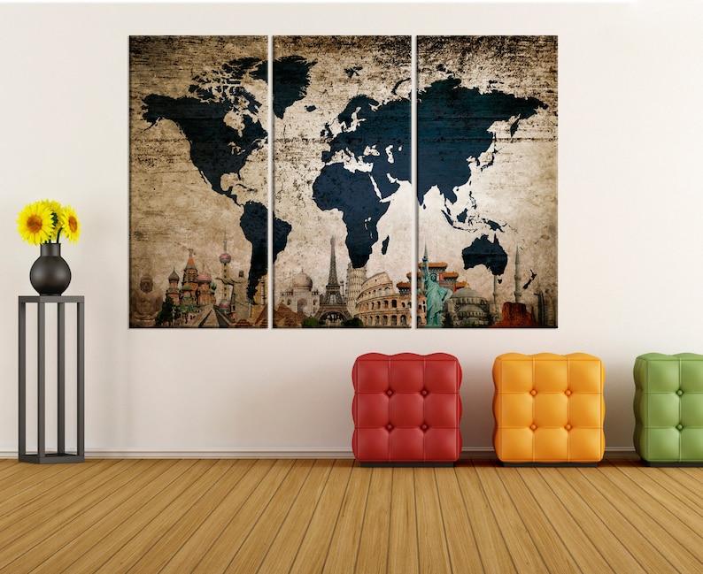 Große Wand-Kunst für Wohnzimmer strukturierten Weltkarte | Etsy