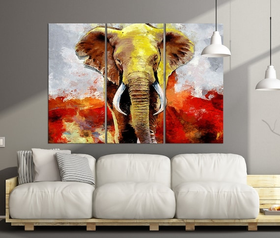 Abstract Elephant Wall Art Canvas Extra Large Wall Art Print Abstract Animal Wall Decor Abstract Canvas Print Wild Animal Art Ab35