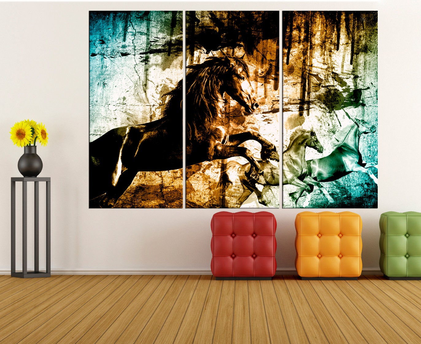 Horses running wall art for living room Extra large wall ...