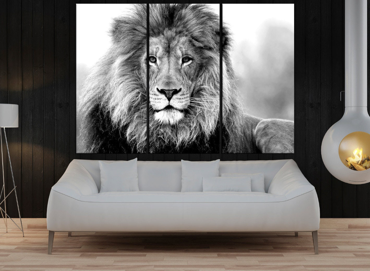 Black And White Lion Wall Art Canvas Print For Living